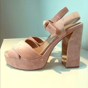 Tory Burch Plush Pink Platforms - 8.5